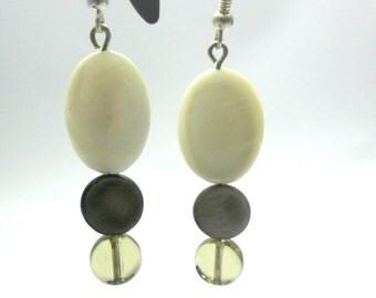 Earrings pendants ivory and Brown