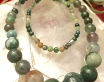 Moss Agate necklace with different agate stones
