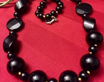Onyx necklace - large beads