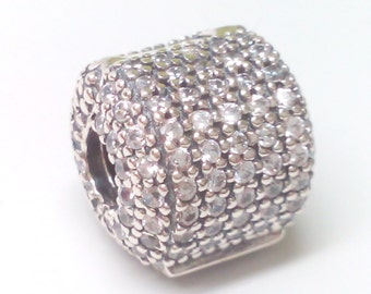 New Authentic Pandora Silver Pave Barrel Clip 791873CZ