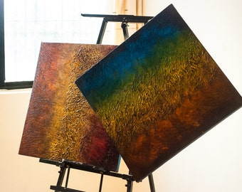 Rustic Squares ( 2 piece panel painting)