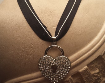 Heart Locket Charm Necklace chain/chord stretch