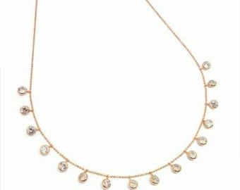 Dangling round bezel zircons necklace, rose gold, 925 sterling silver