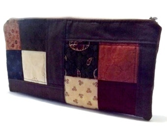 Quilted Pencil Pouch - Patchwork Pencil Pouch - Medium Size
