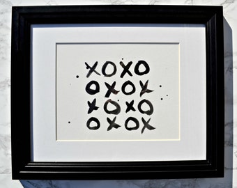 X & O Black and White Watercolour Gallery Wall Art, Girls Room Decor