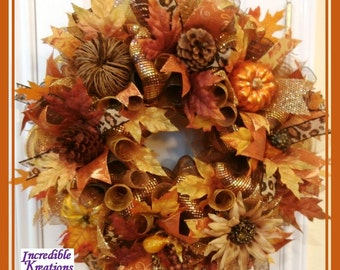 Fall Wreath, deco mesh,  and fall ornaments; decoration for Doors or Walls; excellent gift