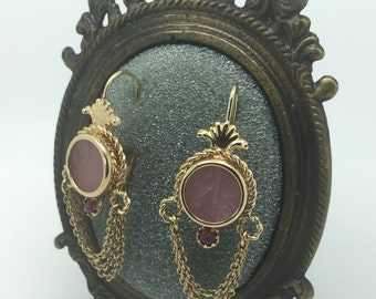 Vintage 14k Gold Earrings with Hand Carved Rose Quartz, Cherubs with Ruby