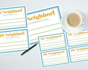 Hi Neighbor! Printable Note Cards, Instant Download