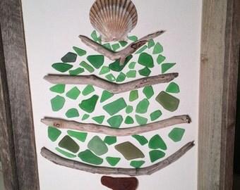 Sea Glass Christmas Tree on Framed Canvas