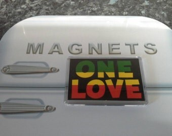 One love Fridge Magnet. Rastafarian Flag Colours. Bob Marley, Jamaica. Reggae