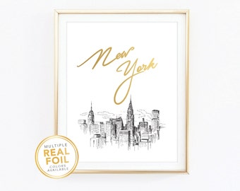 Gold foil Print, New York City Skyline, New York Sketch, United States, Real Foil Print, Silver foil, Home Decor, Wall Art, Gallery Art