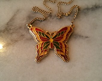 "Vintage Sarah Coventry 1976 ""Fly Away"" Gold Necklace and Attached Enameled Butterfly Pendant"