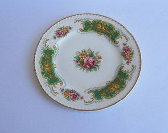 Free Shipping PORTLAND POTTERY Un-named with Green Panels,Florals and Tan Scrolls Bone China Salad Plate ca 1956
