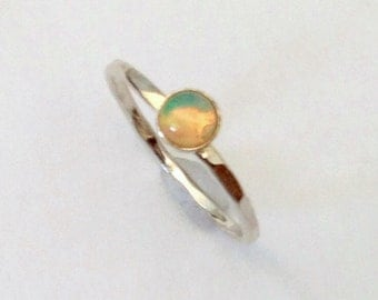 Opal ring, sterling silver ring, silver stacking ring, opal jewelry, genuine opal ring, orange ring, green ring, blue ring, gem ring, size 5