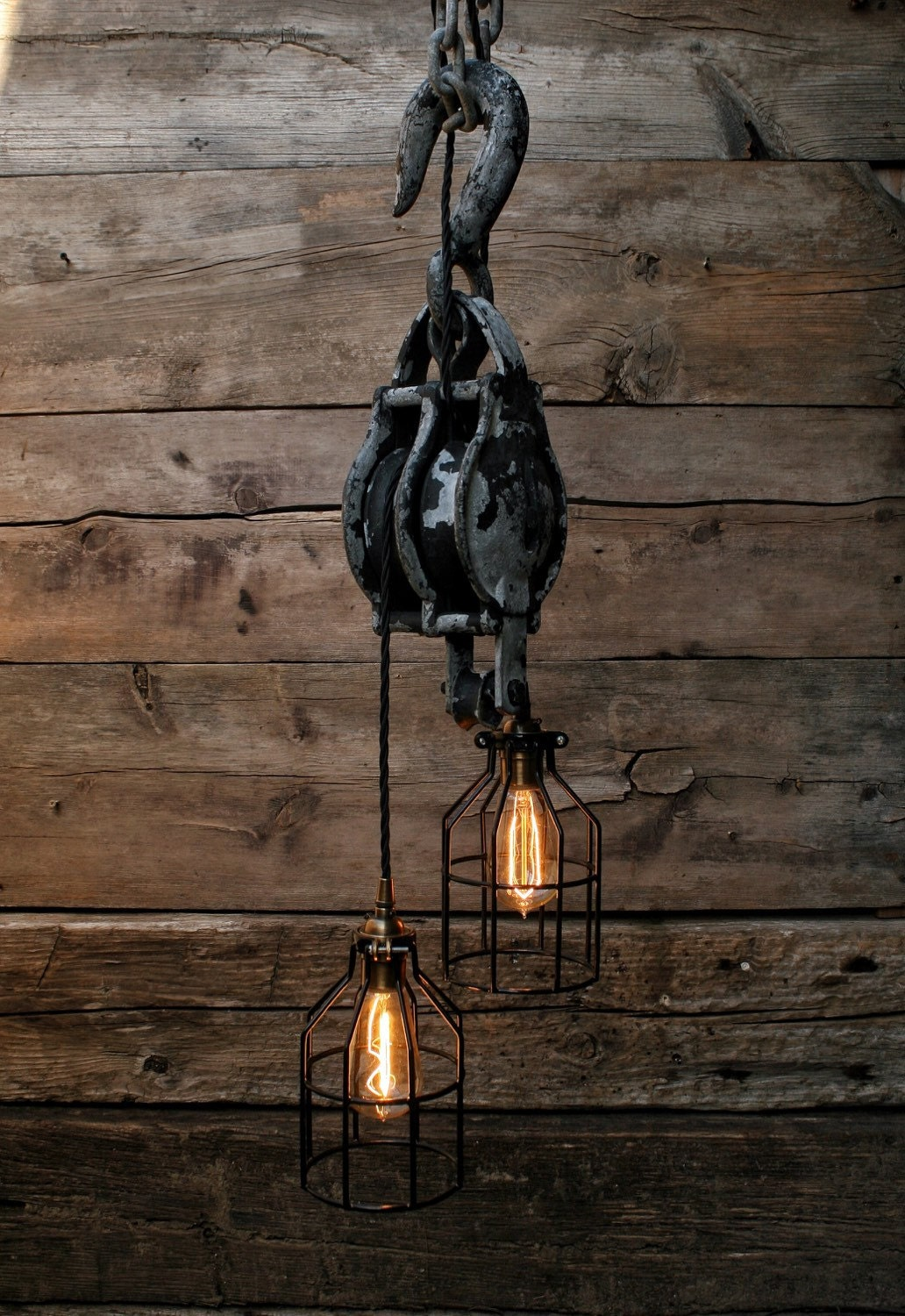 Large Pulley Chandelier Block And Tackle Pulley Pendant