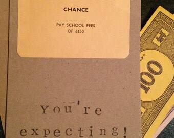 Monopoly Card School Fees Chance. Handmade. New Baby. Baby Shower. You're Expecting.