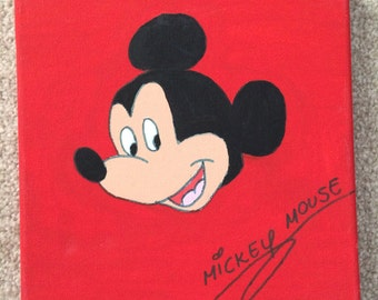 Hand Painted Disney Mickey Mouse Canvas with Autograph