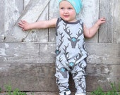 Sleeveless Organic Romper, harem style, baby child toddler, Gender Neutral, play clothes, PICK YOUR FABRIC