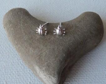 Vintage Lady Bug Sterling Silver Post Earrings, Small Stud Earrings, Post Back Bug Earrings, Tiny Earrings, Minimalist Stud Earrings