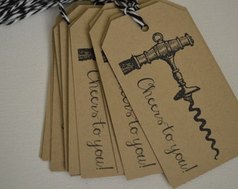 Vintage Corkscrew Wine Gift Tag - Cheers to You Wine Tag - The Wine Collection