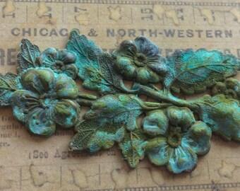 Verdigris  floral flourish1 pc