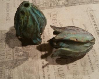 green verdigris copper brass leaf bead caps 6 pc