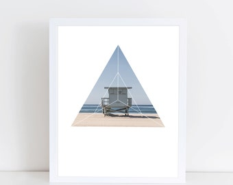 Beach Life Art Print - Inspirational Summer Surf Love Wall Art, Lifeguard Ocean Geometric Photography, Printable Sunny Summer Day Poster