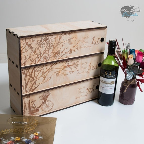 Personalised Wine Box - 3 Bottle - Wedding Gift - Custom Wine Box