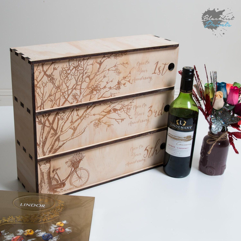 Personalised Wine Box 3 Bottle Wedding Gift Custom Wine
