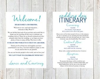 Welcome Letter, Wedding Welcome Letter, Wedding Itinerary, Hotel Welcome Bag, Welcome Bag, Destination Wedding Letter, Anchor, Key West