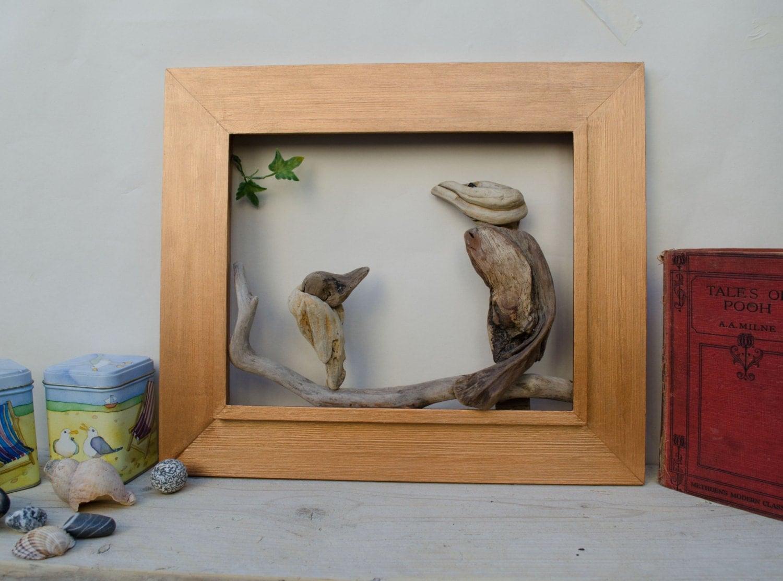 Wooden Birdhouse Wall Decor : Driftwood bird wall art reclaimed wood picture mixed