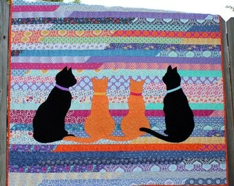 Cute cat quilt twin size