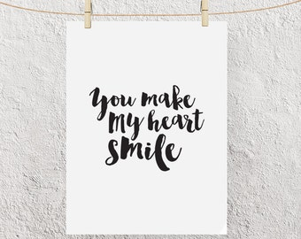 "Typography Poster ""You Make My Heart Smile"" Motivational Inspirational Happy Love Print Wall Home Decor Wall Art"