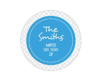 120 Labels - Label F3003 : Blue Circle and White Dots on Grey Round Return Address Label