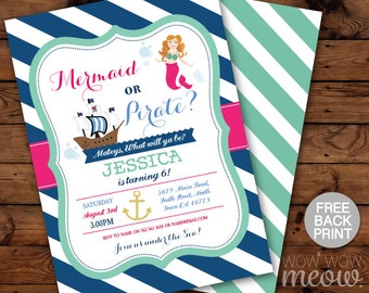 Pirate or Mermaid Invitations Birthday Nautical ANY age Captain Invites Girl Boy Sailor Twins Sea Party INSTANT DOWNLOAD Editable Printable