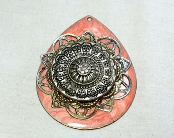 Vintage  Antique Handmade Filigree on Brass Pendant. Telkari pendant. Pink brass. Fine Workmanship on Brass. Traditional Anatolian