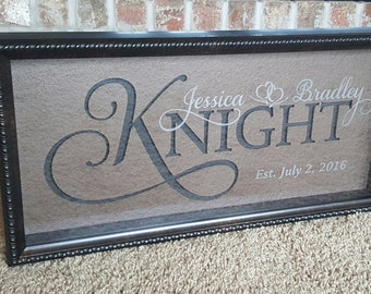 "Laser Engraved Family Sign 9""x20"" - Wood Family Sign - Established Sign - Personalized Sign - Wedding Sign"