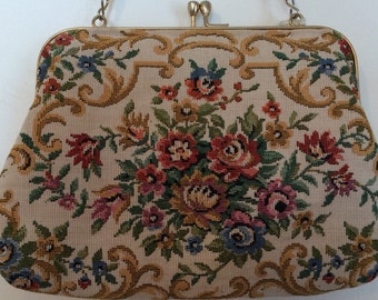 Vintage 1970s Tapestry Cream & Floral Hand Bag