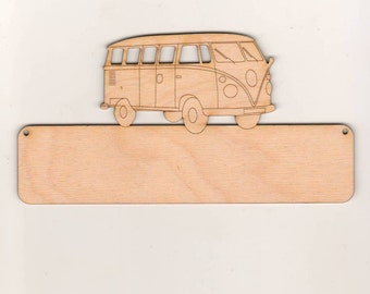 Door sign for front door or nursery door with letters made of wood to the stick on this has the motif of VW Bulli wood