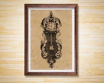 Vintage decor Steampunk poster Clock print