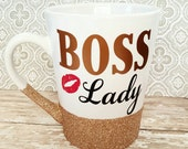 Boss lady, glitter coffee mug, glitter mug, etsy, glitter mug, choose your colors