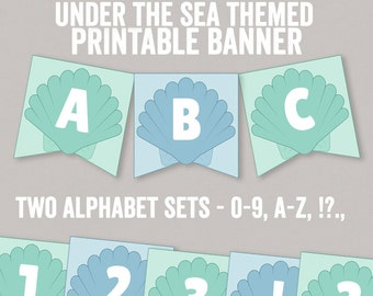 Mermaid party bunting printable, alphabet printable under the sea party banner, under the sea party decoration, diy decor for mermaid party