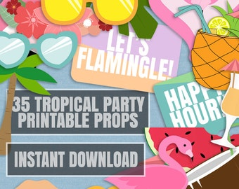 35 Tropical Party Photo Booth Props, Pineapple Party props, flamingo party decor, photobooth lets flamingle party, flamingo props, pineapple