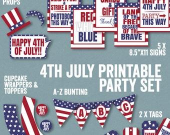 4th July Party Printable Set, printable 4th July party decor, usa party downloadable decor, party this way sign, thank you tags, usa bunting