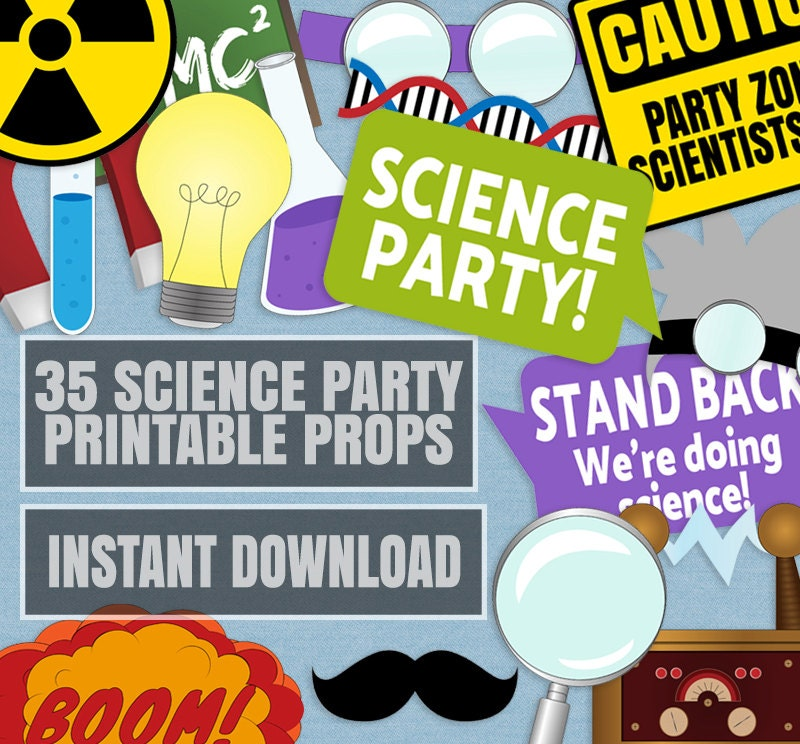 35 Science Party Photo Booth Props Scientist Themed