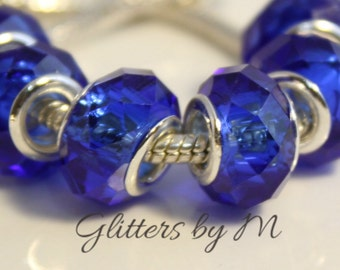 Dark/Royal Blue Glass Faceted Large Hole Bead for European Style Charm Bracelets