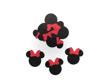 Minnie Mouse with Red Bow Confetti, Die Cut, Cut Out, Embellishments, Table Decoration - SET OF 30