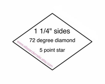 "1 1/4"" diamond paper templates for english paper piecing - 5 point star - La Passacaglia - EPP - 100 pieces"