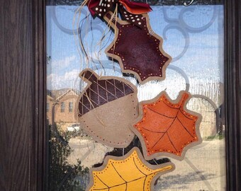 Hand-Painted Falling Autumn Leaves Burlap Door Hanger