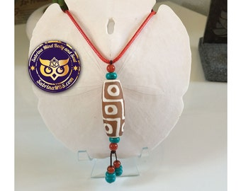 """Tibetan Dzi Stone Beads Red necklace  whit Leather Rope *Summer Special 20%off with code """"HotDeal"""""""